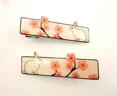 2 Handmade Rabbit or Bunny and Cherry Blossoms by buttonsbyrobin