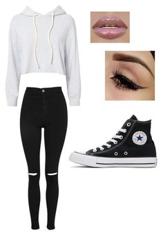 """outfit"" by laurenlol698 on Polyvore featuring beauty, Monrow, Topshop and Converse"