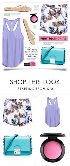 """""""Open Your Eyes"""" by marina-volaric ❤ liked on Polyvore featuring Boohoo, Michael Kors, Tkees, MAC Cosmetics, OPI and printedshorts"""