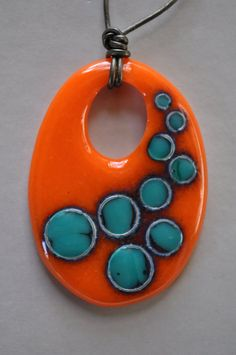 Reactions Art Glass Pendant by perlasegovia on Etsy, $65.00 LOVE the reaction the the glass got here.  Need to try these colors !!