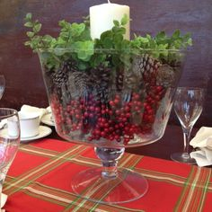Repurpose a punch or trifle bowl into an elegant holiday arrangement.