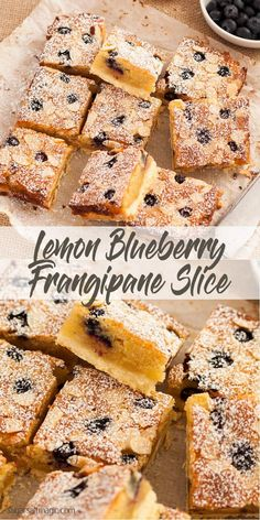 Lemon Blueberry Frangipane Shortbread Bars have a crunchy shortbread base, topped with frangipane filling, lemon and blueberries. Lemon Dessert Recipes, Lemon Recipes, Brunch Recipes, Sweet Recipes, Baking Recipes, Desserts, Fruit Recipes, Yummy Recipes, Cake Recipes