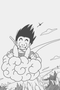Son Goku and Nimbus Dragon Ball Z, Figurine Dragon, Goku Manga, Kid Goku, Held, Coloring Pages, Character Design, Sketches, Drawings