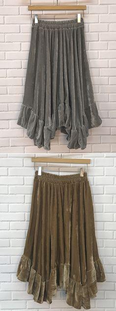 Velvet Asymmetric Flounce Trim High Elastic Wiast Maxi Skirt