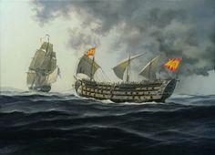 """""""De vuelta a casa"""" El navío Santa Ana siendo atoado por la fragata francesa Thémis rumbo a Cádiz después del combate de Trafalgar del 21 de octubre de 1805. Carlos Parrilla Penagos - Pintura naval."""
