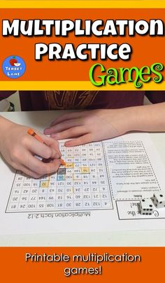 Math Games. Learning multiplication facts is more fun with engaging math games. These print and go games will be a valuable addition to your math learning center. Each two player game comes with simple instructions and requires only crayons or colored pencils and dice. Multiplication Race may be played with game pieces or using a crayon as a marker. #math #multiplication #mathpracticegames
