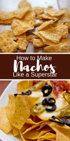 How to Make Nachos. Nachos are a great snack for entertaining guests or satisfying munchies. Plus, you can adapt your nachos to whatever you've got in the fridge. Makes enough for one good-sized snack. Amazing Recipes, Great Recipes, Good Food, Yummy Food, Tasty, How To Make Nachos, Baked Nachos, Food Film, Weird Food