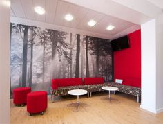 office lounge, red, grey, black, white, sophisticated color scheme. Paint top of bible class table white.