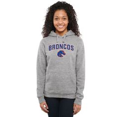 Boise State Broncos Women's Proud Mascot Pullover Hoodie - Ash - - $44.99