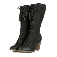 Black Semi Round Toe Lace Up Boots Available from: http://www.ebay.com/itm/Black-Semi-Round-Toe-Lace-Up-Boots-Steampunk-Victorian-Western-Gothic-Granny-/150967087689?pt=US_Women_s_Shoes