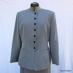 LE SUIT Lightweight Summer Black & White Herringbone Career Skirt Suit 12P MINT  62.50