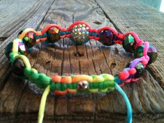 Rainbow Macrame Pave Crystal Bracelet by ShamballaStyle on Etsy, $8.99