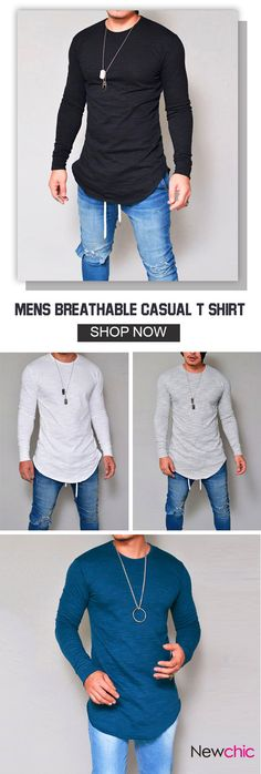 UP TO 47% OFF! Mens Breathable Solid Color Irregular Hem O-neck Long Sleeve Casual T shirt. SHOP NOW!