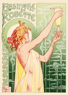 Art Nouveau poster for Absinthe by Henri Privat-Livemont, not by Alphonse Mucha. Poster A3, Retro Poster, Kunst Poster, Poster Prints, Art Prints, Canvas Prints, Alphonse Mucha, Vintage Advertising Posters, Vintage Advertisements
