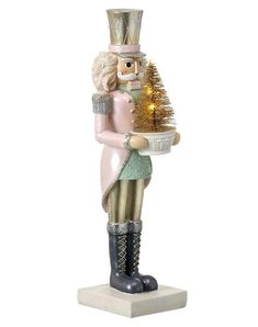 This pink nutcracker is definitely Bonjour Fête worthy with his pink coat, mint accents and cute gold tree. Nutcracker Christmas Decorations, Christmas Themes, Christmas Holidays, Xmas, Christmas Store, Christmas Projects, Christmas Ornaments, Shades Of Gold, Gold Light