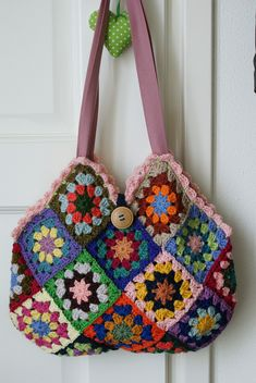 I don't crochet much, but I like the structure (and color combinations) of this bag.  Could be knit with mitered squares ...