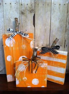 "At #TheBlueDoorCottage, we sometimes like to think ""in"" the box. This Set of 3 Hand-painted Square Rustic Wood Pumpkins would make a charming accent in your home. Comes with raffia and ribbons. 12""/8""/6"" $25/set + shipping https://www.facebook.com/pages/The-Blue-Door-Cottage/855577674454294?fref=photo&sk=photos"