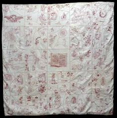 "Redwork -  Holy Bible Coverlet. The approximate date is 1892-1895, possibly made in Pennsylvania. It is in the Michigan State University Museum. This particular quilt combined Redwork with the Crazy quilt concept which was also a style popular at this same time. The stitcher used the herringbone stitch to break the squares up into ""crazy pieces"". Lots of info on Redwork on this site."
