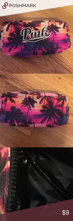 Pink Victoria Secret makeup bag Good condition! No peeling! Has some wear from use on outside on bottom & around corners. Inside is clean. Probably needs a quick wash & would be perfect. Nothing major, still super cute!! PINK Victoria's Secret Bags Cosmetic Bags & Cases