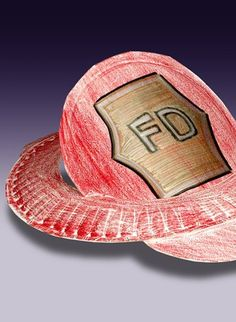 Make a DIY firefighter hat out of paper plates for an easy craft for kids.