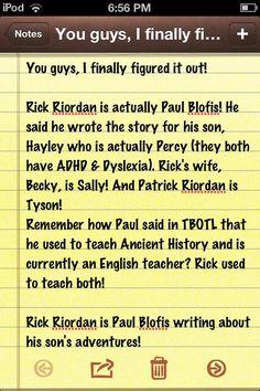The Rick Theory | Rick Riordan is actually Paul Blofis | guys | Percy Jackson | GUYS | HOLY FRICK