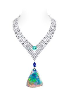 the white gold Louis Vuitton Genesis necklace with its triangular 87.92-carat Australian opal