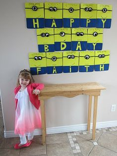 Idea for a minion birthday banner. Third Birthday, Man Birthday, Boy Birthday Parties, Birthday Ideas, Minion Birthday Banner, Minion Theme, Despicable Me Party, Minion Party, Kids Party Themes