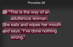Proverbs 30 -- adulterous woman