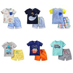 100% Cotton New 2016 Brand Baby Boys 2pc Children Suits Clothing Kids Toddler Clothes Sets Baby Boys Summer Short Sleeve Outwear