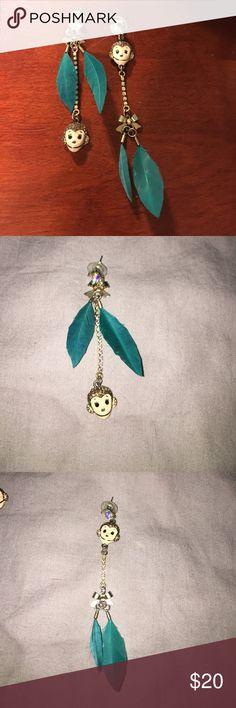Betsey Johnson Earrings Mismatched Betsey Johnson monkey teal feather earrings Betsey Johnson Jewelry Earrings