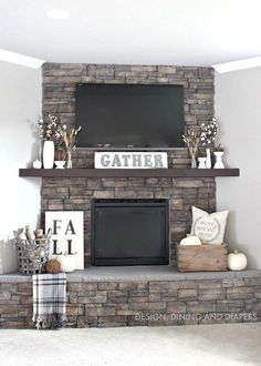 Rustic Fall Mantel Decoration Using Neutrals and Texture.