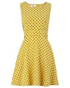 Louche Dale Spot Dress Yellow