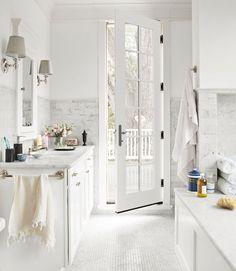 Carrara marble everywhere. #bathroom #decorating