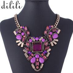 DILILI 2017 fashion plated metal crystal chain choker Necklace women luxury statement pendant neckaces & pendants xsn764
