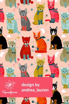 Kittens in Mittens by Andrea Lauren - Adorable hand illustrated cats in socks on fabric, wallpaper, and gift wrap.  Cats in orange, black, gray, and blue on a pink background with colorful socks and scarves.  Perfect fabric for making a gift for a cat lover or for wallpapering a pet's room.  #cats #catlover #illustration #illustrated #kittens #kittensinmittens #surfacedesign