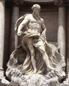 """Pietro Bracci """"Neptune"""" Marble Located at the Piazza di Trevi, Rome, Italy Neptune was the god of freshwater, the sea, and horses in Roman religion. He is the counterpart of the Greek god Poseidon. Ancient Greek Sculpture, Greek Statues, Art Sculpture, Sculptures, Art Romain, Rome Antique, Roman Gods, Roman Art, Greek Art"""