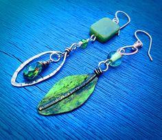 Assymetrical Green Leaf Earrings by Wink Artisans  Handmade Jewelry, Artisan Jewelry