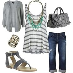 I really like this casual everyday outfit. The gray and white striped tank with the capri pants is pretty and comfy looking. I really like the look of stacked rings, and the necklace is very pretty.