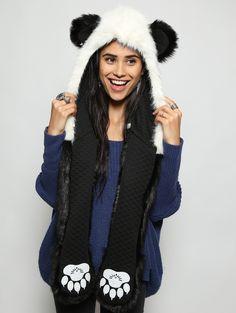 2016 new winter Faux Fur Hood Animal Hoods Hat panda white black cute animal feux fur hat cap Beanies Cartoon Wolf Hat Animal Hats, Panda Bear, Polar Bear, One Size Fits All, Hoods, Winter Hats, My Style, How To Wear, Outfits
