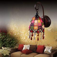 Poças de envio livre rústico lâmpada de parede de mosaico espelho cama iluminação pavão luz estilo americano lâmpada de parede de cristal(China (Mainland))