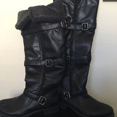 Kohls Sonoma Over The Knee High Boot Black, Over the knee high boot with stylish multi buckle design   Flannel lining and faux fur trim. One inch heel zipper side closure,round tie. Size 11. Sonoma Shoes Over the Knee Boots