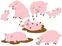 70% OFF SALE Pigs Clipart - Digital Vector Farm, Animal, Baby Pig, Pigs, Farm Piggy, Pigs Clip Art #thecreativemill
