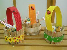 Easter Crafts For Kids, Diy For Kids, Diy Cardboard Furniture, Popsicle Crafts, Basket Crafts, Art N Craft, Egg Decorating, Easter Party, Easter Baskets
