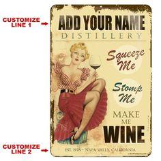 "CUSTOMIZABLE Vintage Metal Bar Sign - 12"" x 18"" - Wine Distillery Custom Bar Signs, Outside Patio, Wine Signs, Vintage Metal, Vintage Style, Decorative Signs, Metal Bar, Custom Metal, Personalized Signs"