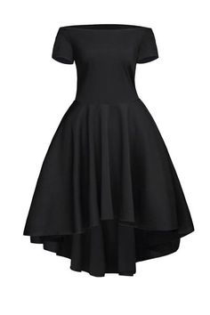 Off The Shoulder Gorgeous Black Elegant Slim Fitting Skater Dress