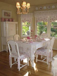 Shabby Chick Kitchen - but I would change the colors to blue and white. But love the look.
