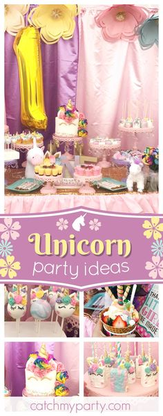 Take a look at this magical Unicorn birthday party! The unicorn cake pops are adorable!! See more party ideas and share yours at CatchMyParty.com