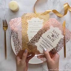 EWI Foil Wedding Invitaion Ideas Gorgeous custom foil floral pattern laser cut wedding invitations E Acrylic Wedding Invitations, Diy Invitations, Elegant Wedding Invitations, Wedding Invitation Cards, Invitation Design, Wedding Stationery, Wedding Favors, Invitation Ideas, Wedding Venues