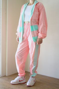 90s Pastel Neon Track Pants, Pink and Teal Color Block Pants, High Waisted Tapered Jogging Pants, Club Kid, Vaporwave, Small