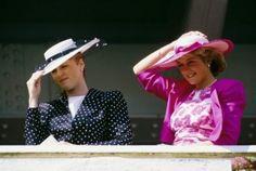 Sarah Ferguson, the Duchess of York (l), and Princess Diana (r) attend the Royal Ascot, June 1987.